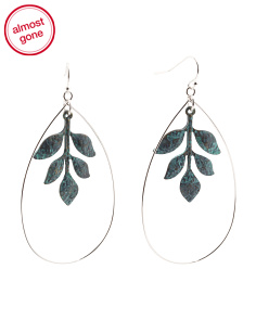 Patina Leaf Detail Frontal Hoop Earrings