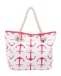 Marina Anchors Canvas Beach Tote