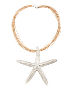 Made In Israel Sterling Silver Starfish Corded Necklace