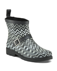 Chevron Printed Rain Booties