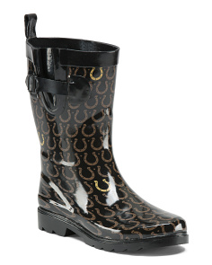 Mid Calf Lucky Horeshoe Rain Boots