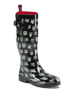 Owl Printed High Shaft Rain Boots