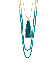 2 Row Turquoise Long Necklace