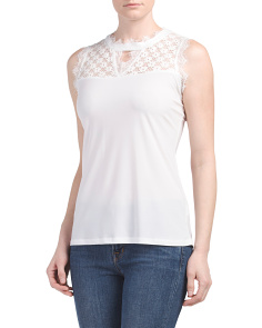 High Neck Lace Sleeveless Top
