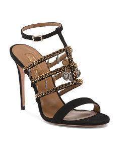 Made In Italy Chain Trimmed Suede Sandals
