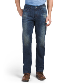 Stretch Slub Slim Straight Jeans