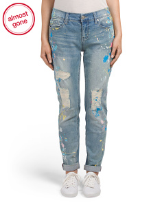 Girlfriend Jeans With Paint Splatter