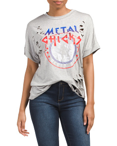 Juniors Metal Chicks Destructed Tee