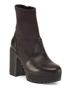 Lug Sole Leather Booties