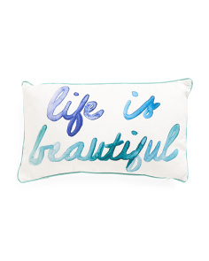 12x20 Life Is Beautiful Watercolor Pillow