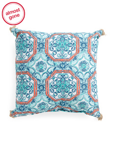 20x20 Indoor Outdoor Medallion Pillow With Fringe