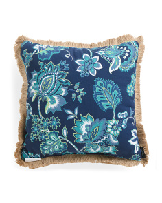 20x20 Indoor Outdoor Jacobean Floral Pillow With Fringe Trim