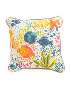 20x20 Indoor Outdoor Watercolor Sealife Pillow