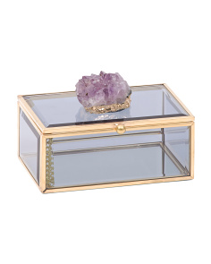 Quartz Stone Metal And Glass Jewelry Box