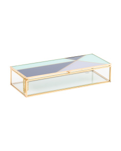 Tri Color Brass And Glass Jewelry Box