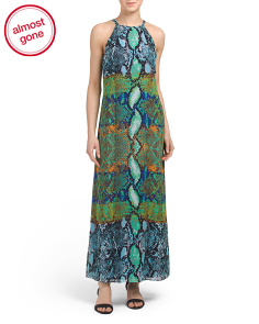 Halter Printed Neck Maxi Dress