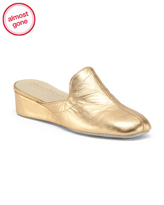 Metallic Wedge Leather Slippers