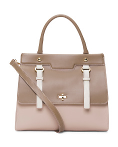 Made In Italy Colorblock Leather Satchel