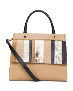 Made In Italy Multi Stripe Leather Satchel
