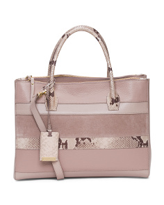 Made In Italy Python Print Leather Satchel