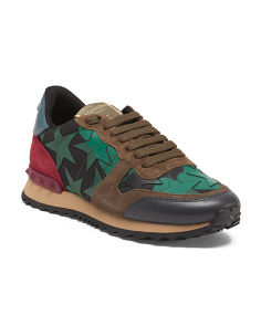 Made In Italy Camo Rockstud Leather Sneakers