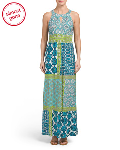 Patch Work Jersey Maxi Dress