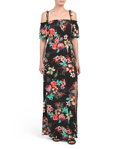 Juniors Cold Shoulder Floral Maxi Dress