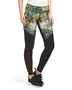Mesh Inset Printed Leggings
