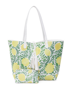 Lemon Print Reversible Tote
