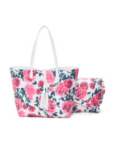 Rose Print Reversible Tote