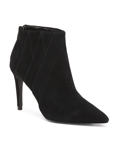 Low Suede Booties With Heel