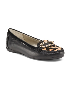 Animal Step In Leather Haircalf Loafers