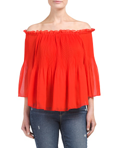 Juniors Pleated Off The Shoulder Top