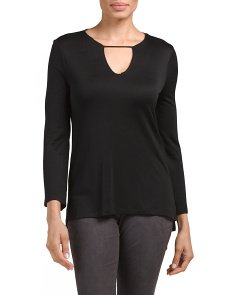 Bell Sleeve Crew Neck Keyhole Top