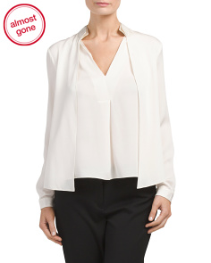 Double Collar Detail Silk Blouse