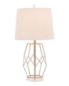 Open Metal And Crystal Table Lamp