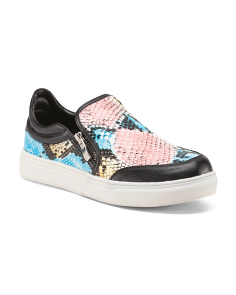 Snakeskin Slip On Sneakers