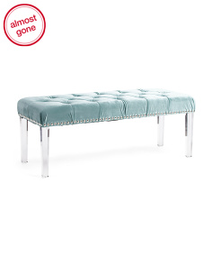 Acrylic And Velvet Bench With Nailheads