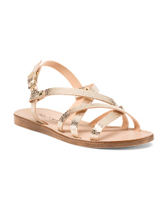 Made In Italy Leather Metallic Sandals