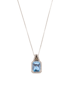 Made In Thailand 14k Gold Blue Topaz And Diamond Necklace
