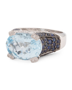 Made In Thailand 14k Gold Blue Topaz And Sapphire Ring