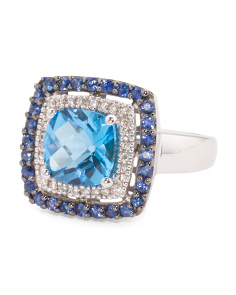 14k Gold Blue Topaz Sapphire And Diamond Ring