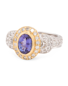 Made In Thailand 14k Gold Tanzanite And Sapphire Ring