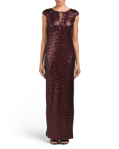 Cap Sleeve All Over Sequin Gown