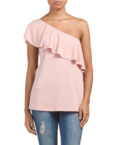 Made In USA One Shoulder Ruffle Top