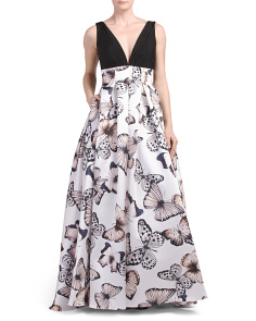 Crepe Bodice Printed Skirt Gown