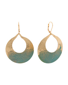 Made In USA Patina Frontal Hoop Earrings