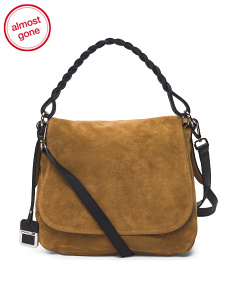 Made In Italy Leather Suede Flap Saddle Bag