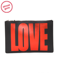 Made In Italy Love Glitter Print Leather Pouch