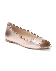 Scalloped Leather Peep Toe Flats